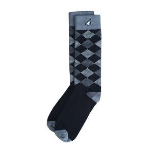 Formal Black & White Fun Patterned Mens Dress Socks Gift 3-Pack Bundle