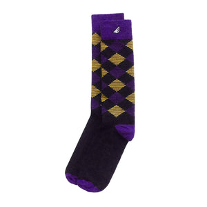 LSU Tigers ECU Pirates JMU Argyle Quality Fun Unique Crazy Dress Casual Socks Black Purple Gold Made in America USA