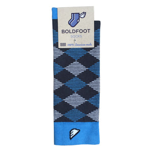 UNC Carolina Tar Heels Argyle Quality Fun Unique Crazy Dress Casual Socks Dark Grey Sky Blue White Made in America USA