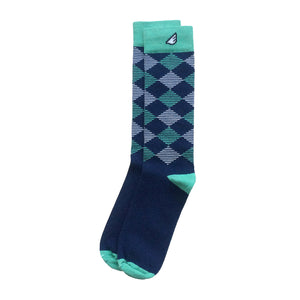 Argyle Quality Fun Unique Crazy Dress Casual Socks Navy Light Green White Made in America USA