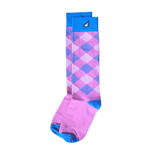 Scotsman - Pink & Sky Blue. American Made Dress / Casual Argyle Socks