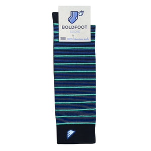 Quality Fun Unique Crazy Stripe Dress Casual Socks Black Royal Blue Green Made in America USA Packaging