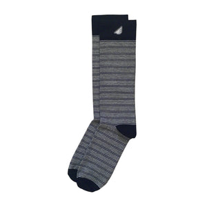 Men's Tuxedo Stripe Supima Cotton Black & White Formal Dress Socks