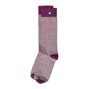 Sidekick - Maroon, Gold & White. American Made Dress / Casual Stripe Socks