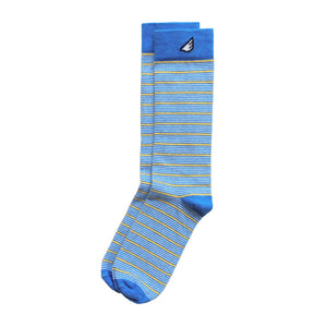 UCLA Bruins Quality Fun Unique Crazy Stripe Dress Casual Socks Sky Blue Gold White Made in America USA