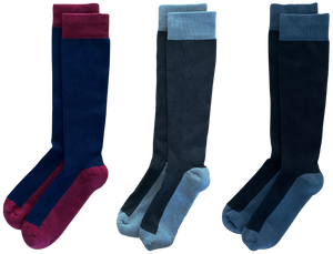 SOLIDS 3-pack of American Made 15-20mmHg OTC Compression Socks