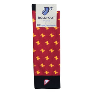 Harry Potter The Flash Men's Fun Unique Crazy Lightning Bolt Polka Dot Dress Casual Socks Red Black Gold Yellow Made in America USA