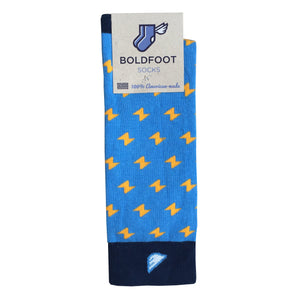 San Diego Chargers Men's Fun Unique Crazy Lightning Bolt Polka Dot Dress Casual Socks Navy Sky Powder Blue Gold Made in America USA Packaging