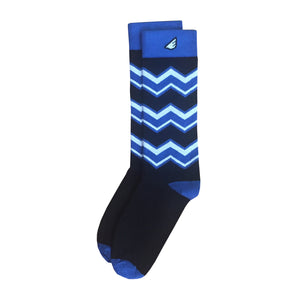 Men's Fun Unique Crazy Chevron Pattern Dress Casual Socks Black Royal Blue White Made in America USA