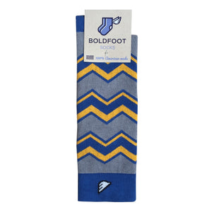 West Virginia Mountaineers Men's Fun Unique Crazy Chevron Pattern Dress Casual Socks Light Grey Royal Blue Gold Yellow Made in America USA