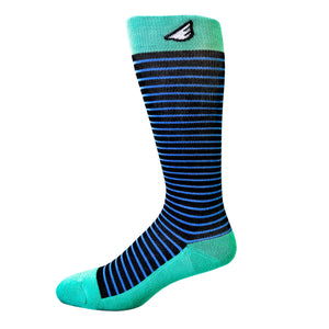 Underdog - Black, Sky Blue & Light Green. American Made Stripe 15-20mmHg OTC Compression Socks