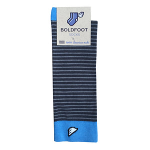 Men's Fun Unique Crazy Stripe Dress Casual Socks Dark Grey Light Grey Made in America USA Packaging