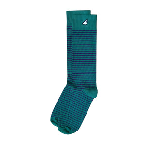 Underdog - Dark Green & Navy. American Made Dress / Casual Stripe Socks