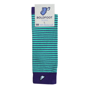 Charlotte Hornets Men's Fun Unique Crazy Stripe Dress Casual Socks Light Green Purple Made in America USA Packaging