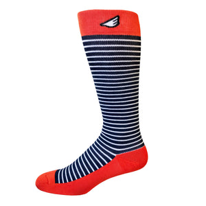 Underdog - Navy, White & Orange. American Made Stripe 15-20mmHg OTC Compression Socks