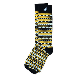 Warrior - Black & Gold. American Made Dress / Casual Fun Pattern Socks