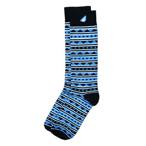 Warrior - Black & Sky Blue. American Made Dress / Casual Fun Pattern Socks
