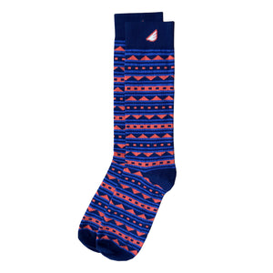 Warrior - Navy & Orange. American Made Dress / Casual Fun Pattern Socks