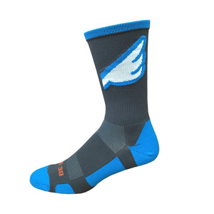 Wingman - Dark Grey & Electric Blue. American Made Unique Athletic Socks