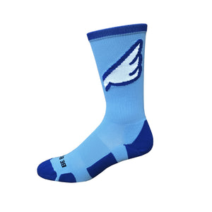 Wingman - Sky Blue & Royal. American Made Unique Athletic Socks