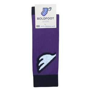 Baltimore Ravens Men's Fun Unique Crazy Wing Dress Casual Socks Black Purple White Made in America USA Packaging