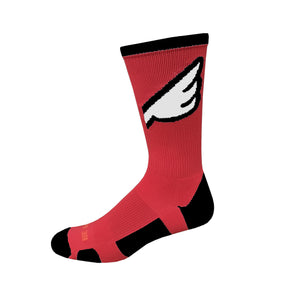 Wingman - Red & Black. American Made Unique Athletic Socks