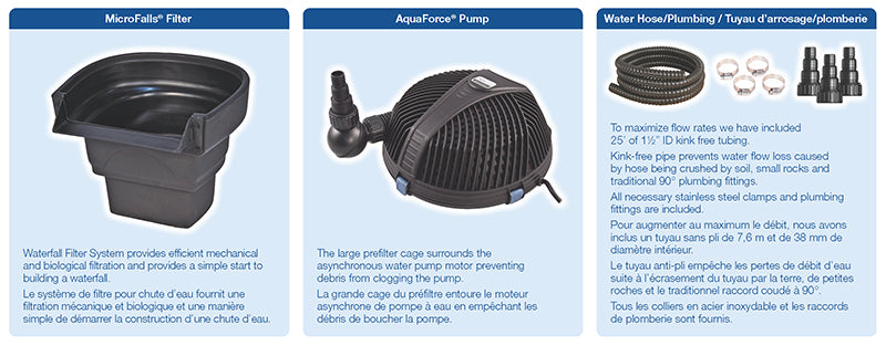 UltraKlean™ 1000 Filtration Kit with BioFalls® Filter and AquaForce® 2700 Handling Waterfall Pump
