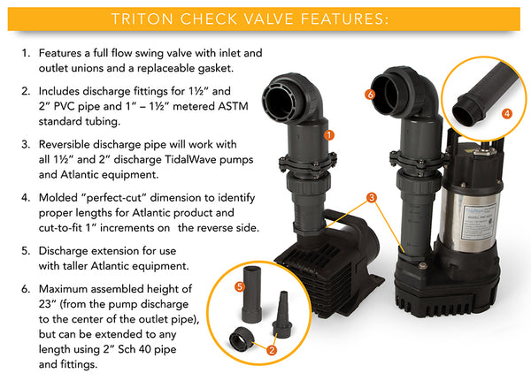 Triton Check Valve Features by Atlantic Water Gardens