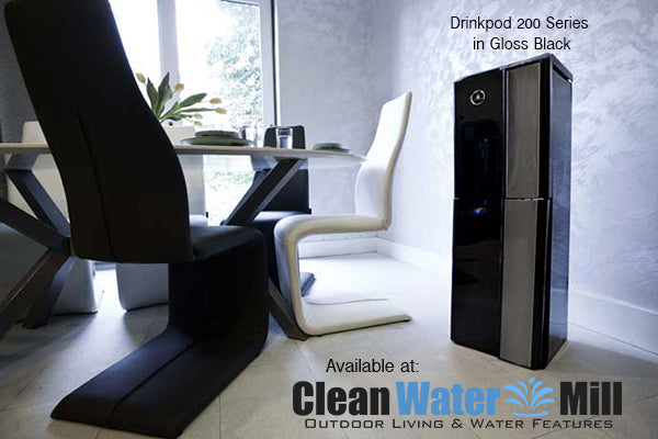 Drinkpod 200 Series Bottleless Free-Standing Hot and Cold Water Cooler - Gloss Black Finish in Office View