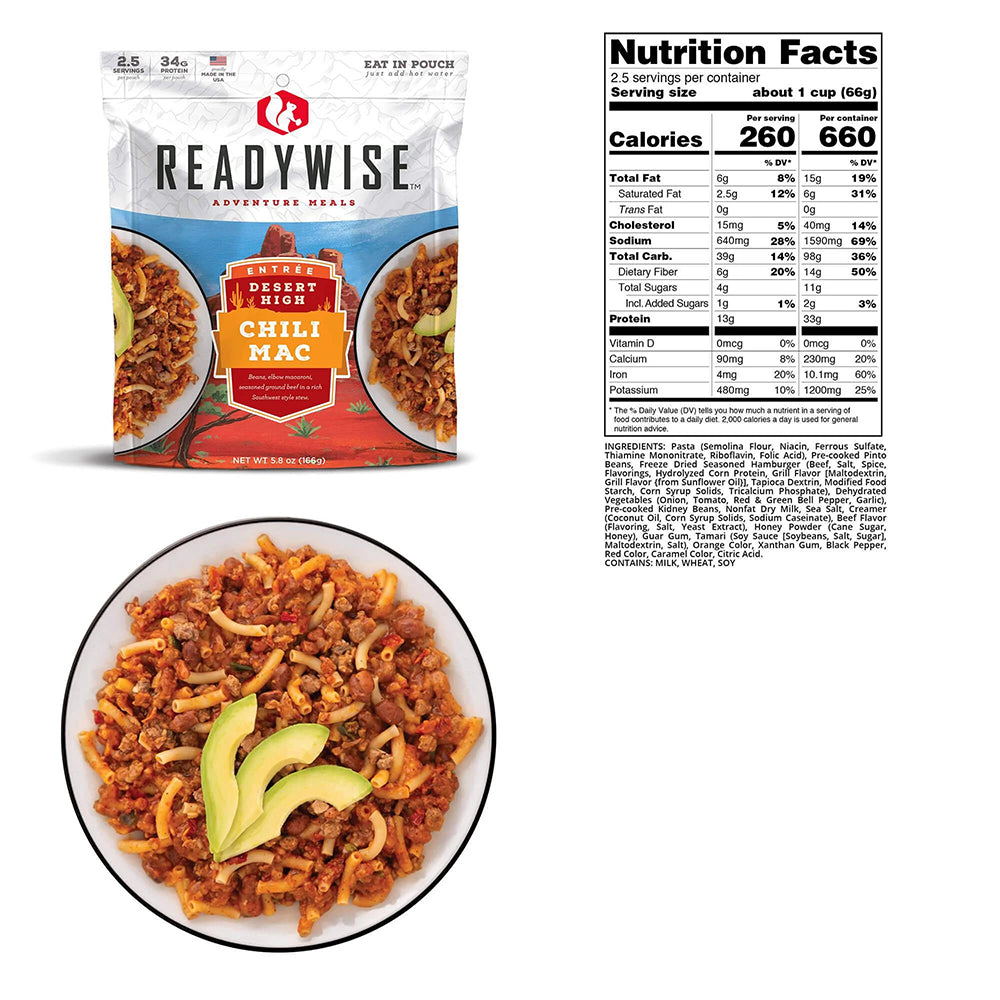 ReadyWise Desert High Chili Mac Nutrition Facts and Ingredients