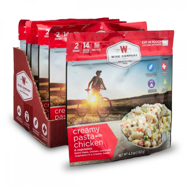 Wise Company - Outdoor Creamy Pasta and Vegetables with Chicken 6-Pack (2-Serving Pouch) - Main View