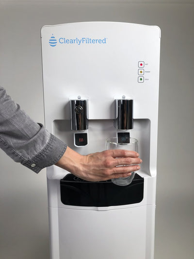 Clearly Filtered™ Water Tower - Ultimate Water Dispenser - Dispensing Water View