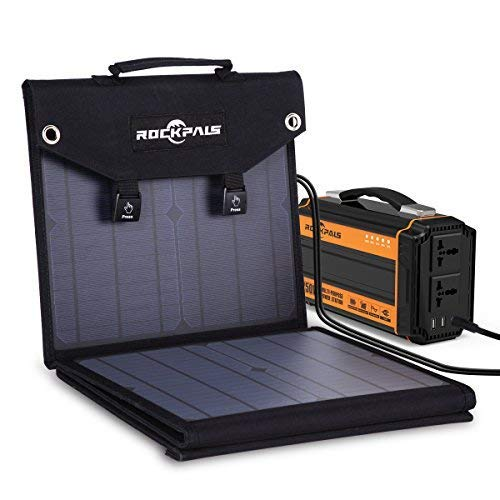 Rockpals 100W Foldable Solar Panel Charger for Suaoki Portable Generator with 3 USB Ports