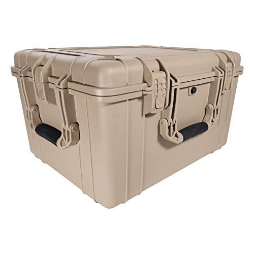 "Condition 1 25"" XL Waterproof Protective Hard Case with Foam, Tan - 25"" x 20"" x 14"" #024 Watertight IP67 Rated Dust Proof and Shock Proof TSA Approved Portable Storage Trunk Carrier"
