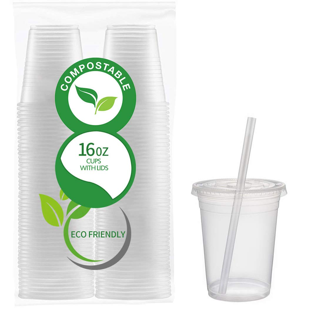 50 Count Eco Friendly Clear PLA Cups with Lids - Plasticless 16 Ounce Biodegradable Plastic Cups - Main View