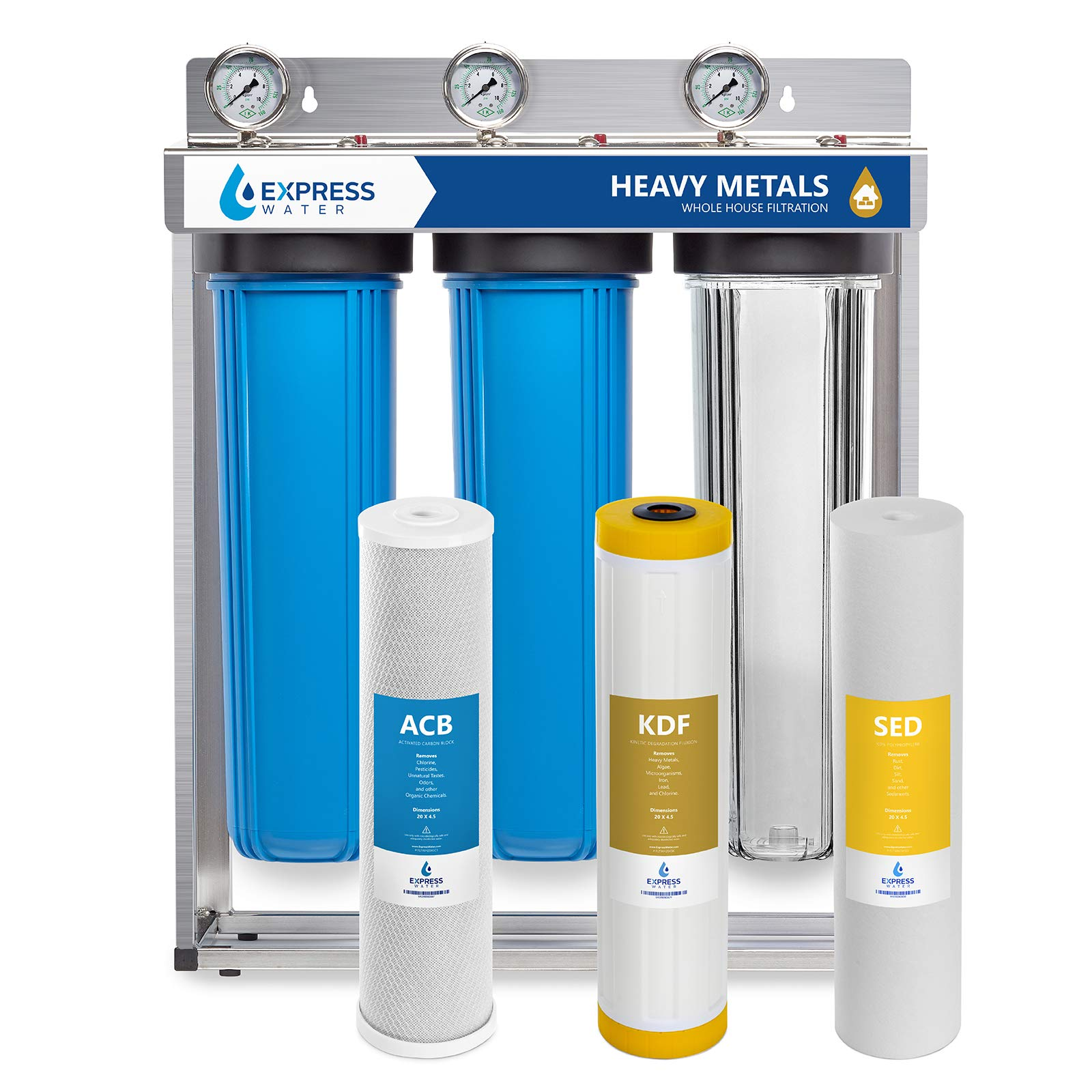 "Express Water Heavy Metal Whole House Water Filter - 3 Stage Home Water Filtration System - Sediment, KDF, Carbon Filters - includes Pressure Gauges, Easy Release, and 1"" Inch Connections"