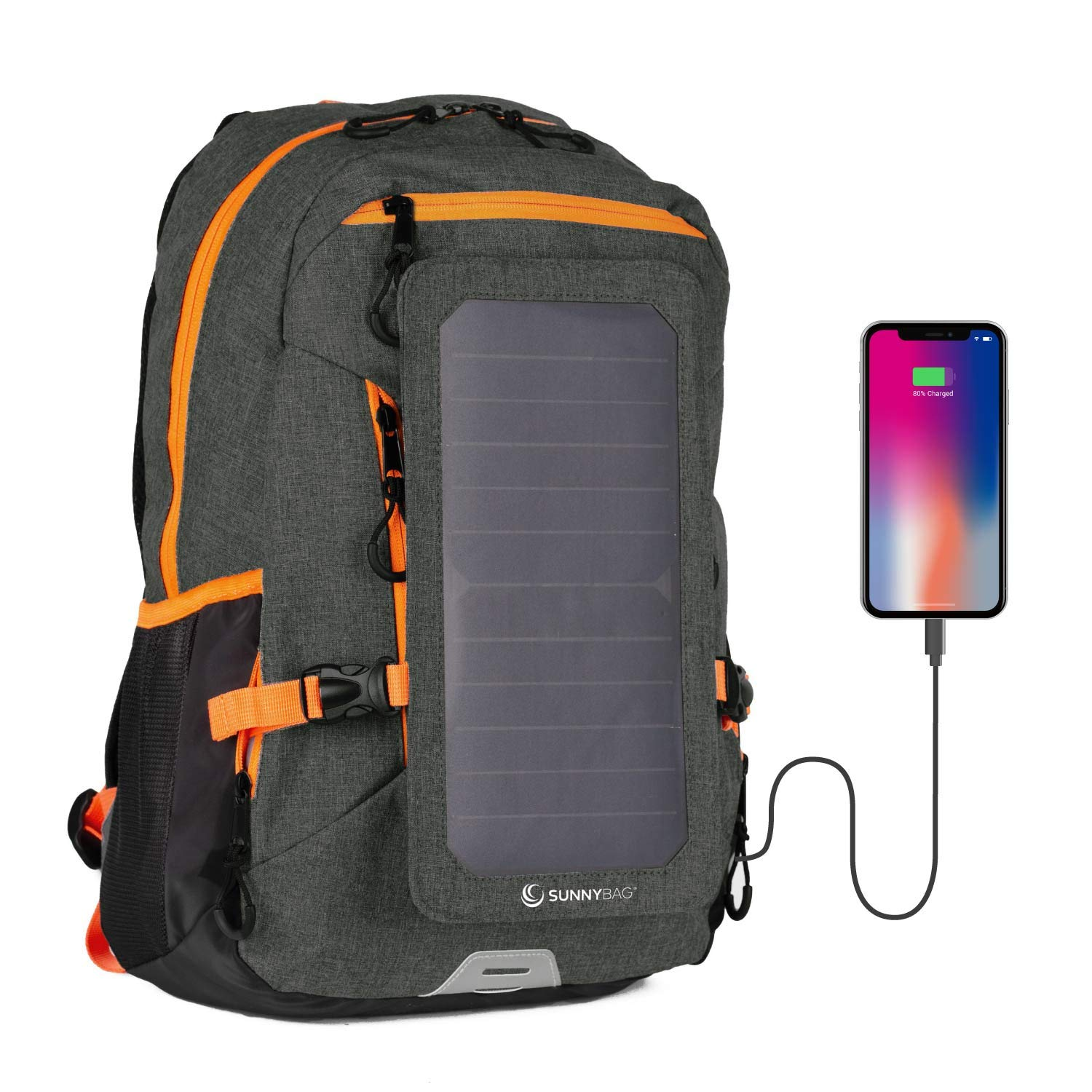 Sunnybag Explorer+ Solar Backpack | 15L Volume and 15'' Laptop Compartment | Black/Orange