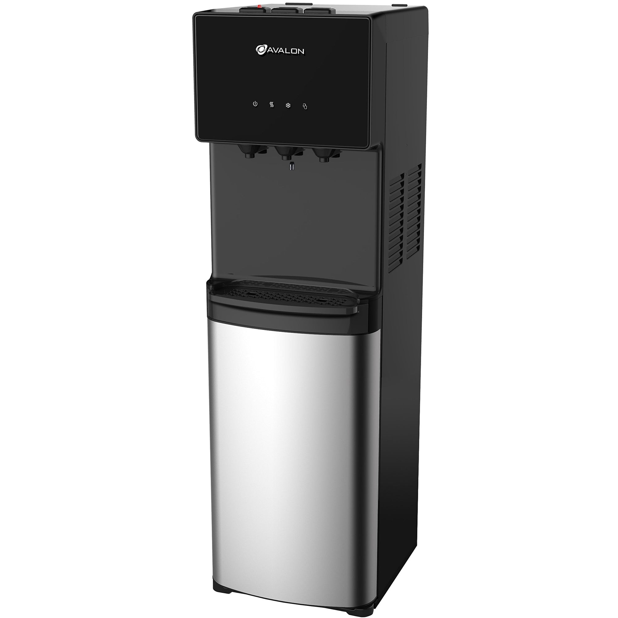 Avalon Water Dispenser - Bottom Loading 3 or 5 Gallon Bottle - Stainless Steel & Black - A4BLWTRCLR