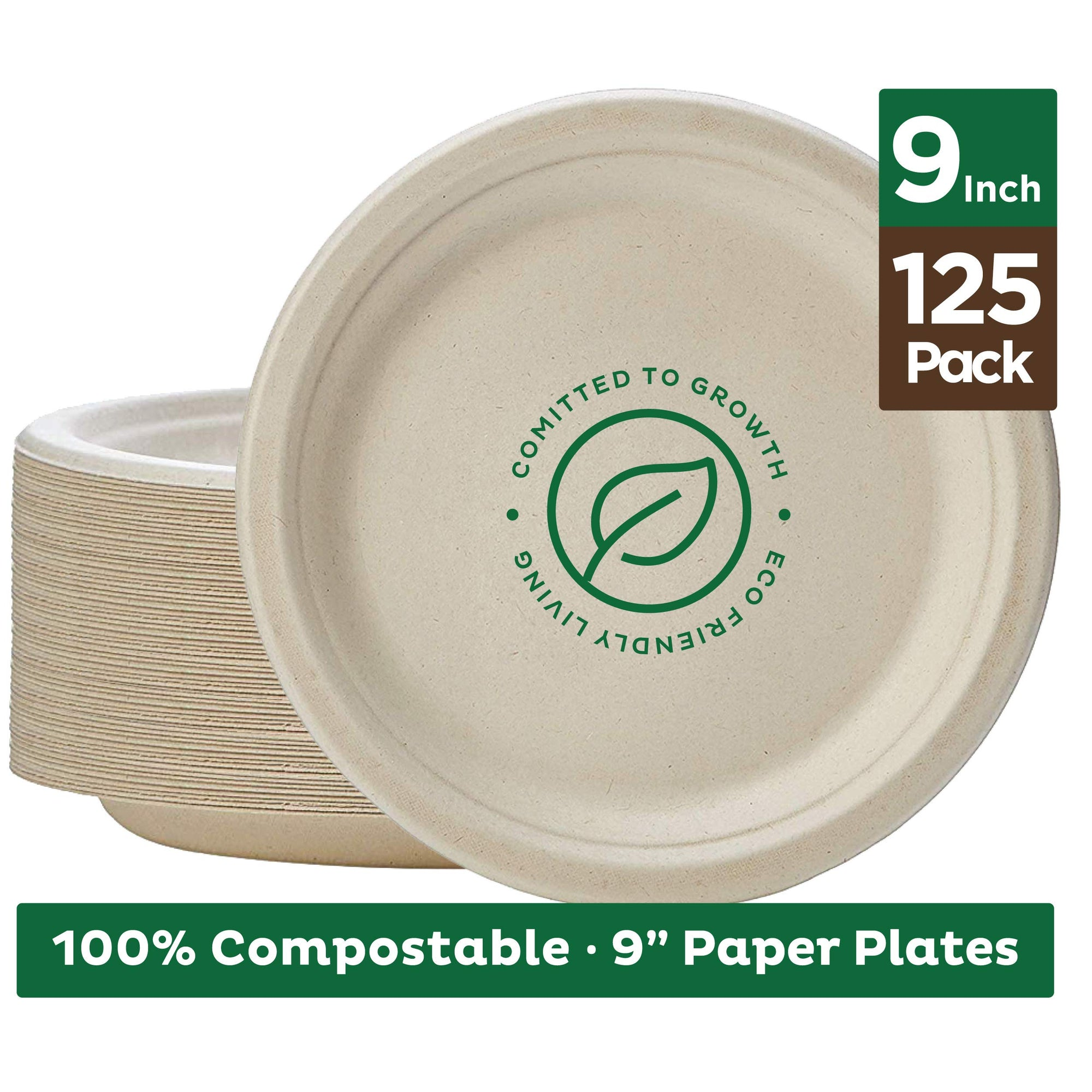 "Stack Man 100% Compostable 9"" Paper Plates [125-Pack] Heavy Duty Eco-Friendly Made of Sugar Cane"