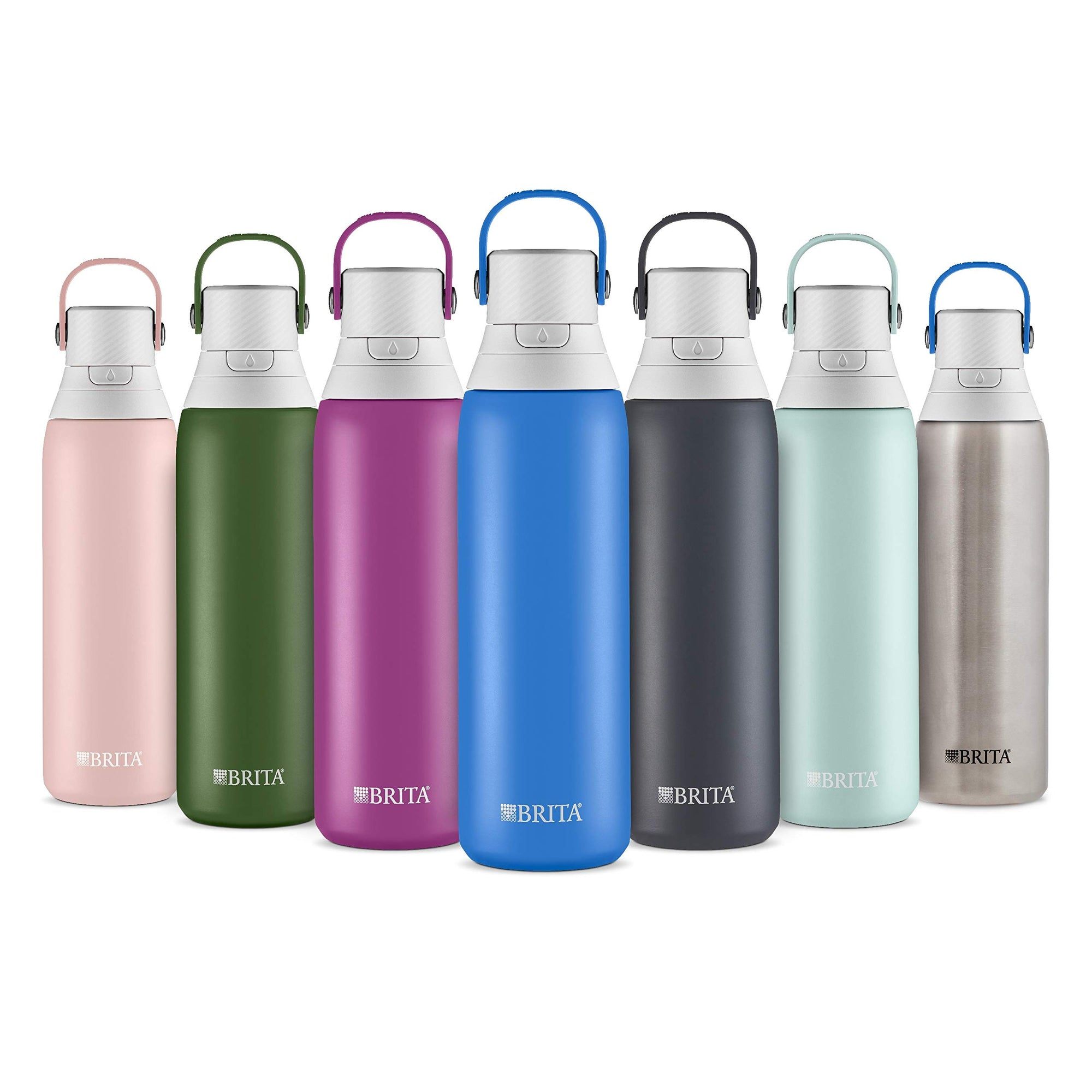Brita 20 Ounce Premium Filtering Water Bottle with Filter BPA Free - Stainless Steel