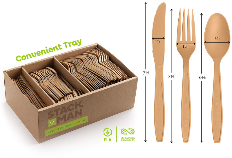 Stack Man Disposable Cutlery Set [360 Pack] 100% Compostable Plastic Silverware