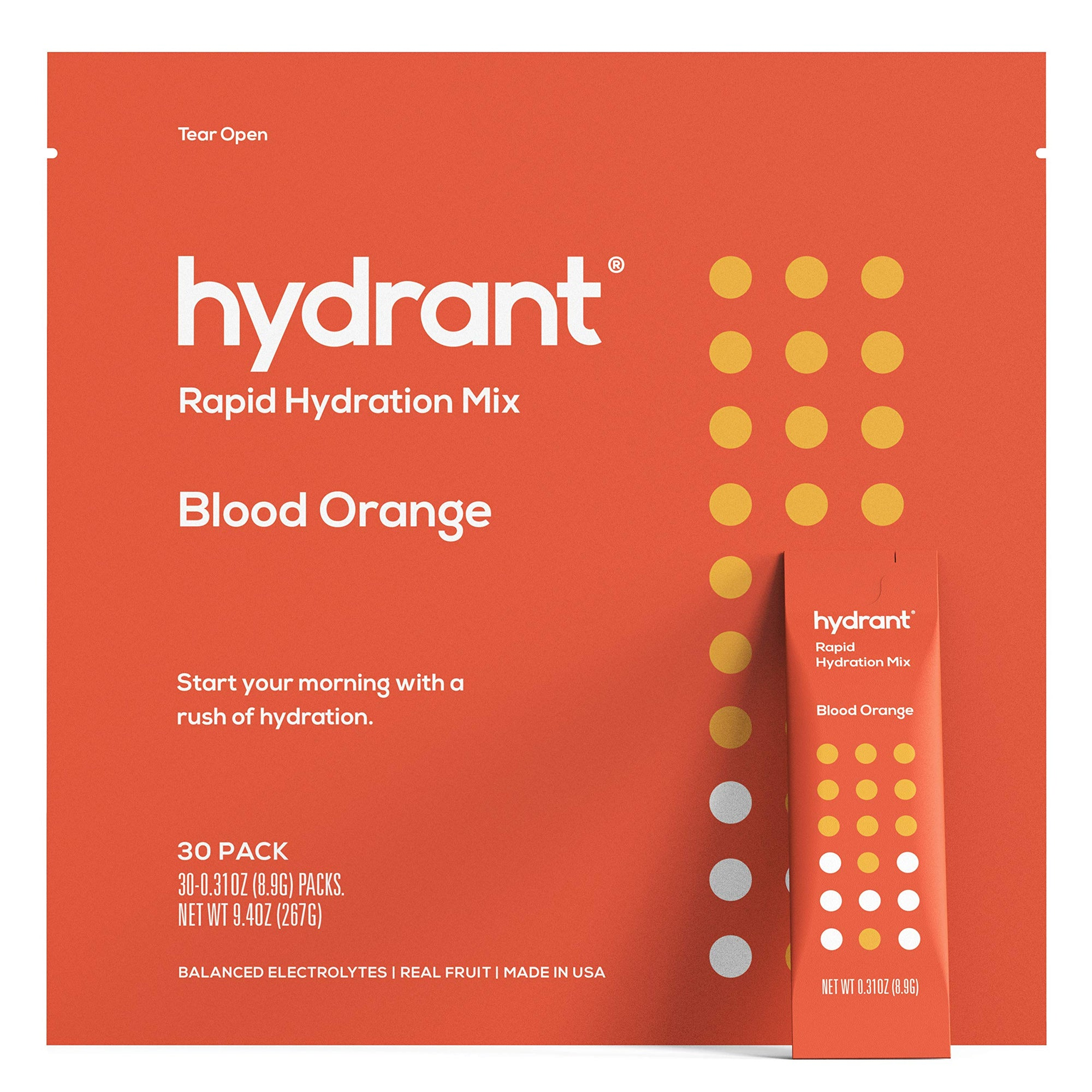 Hydrant Blood Orange Rapid Hydration Mix Version 2 | Electrolyte Powder | Dehydration Recovery Drink Blend 30pk