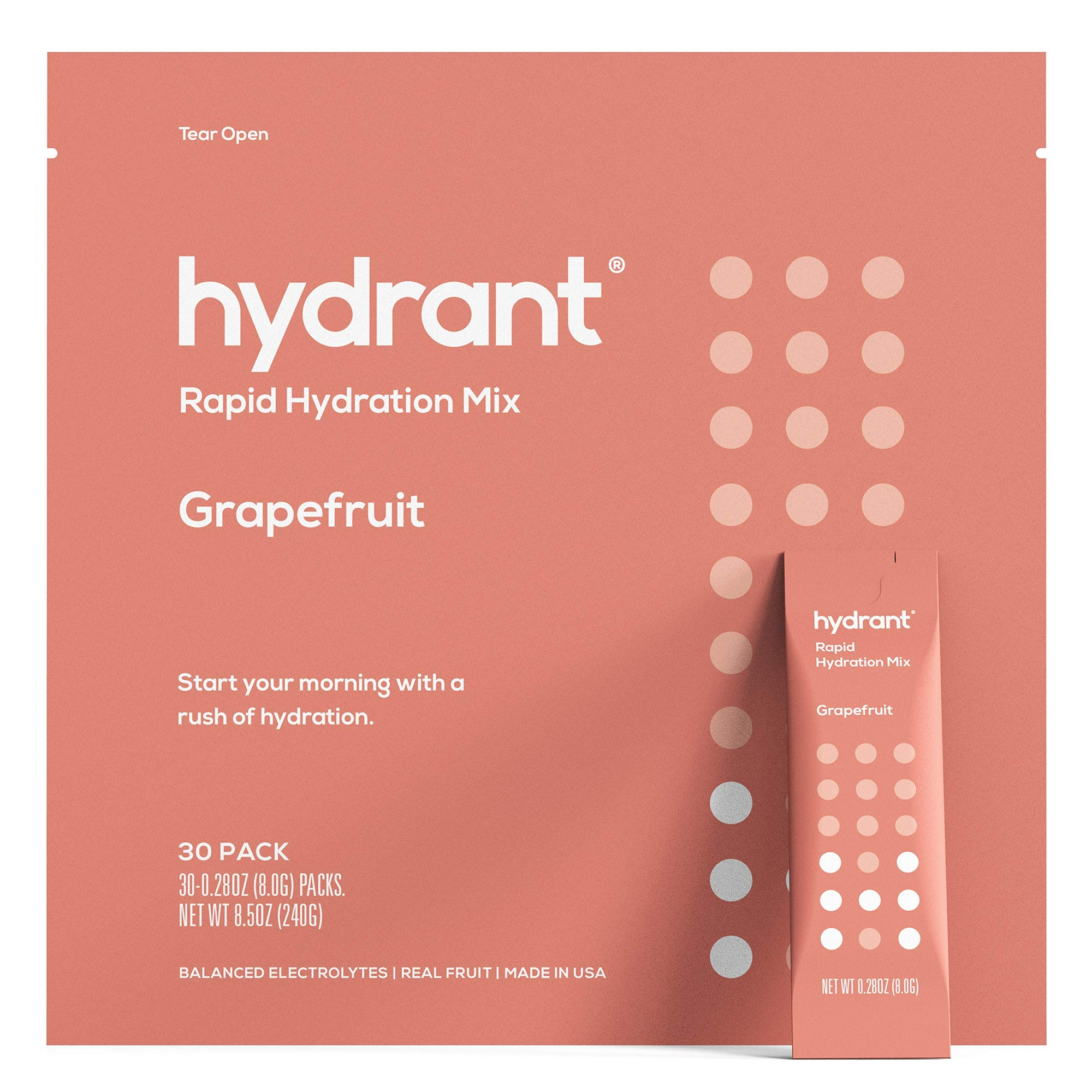 Hydrant Grapefruit Rapid Hydration Mix Version 2 | Electrolyte Powder | Dehydration Recovery Drink - 30pk