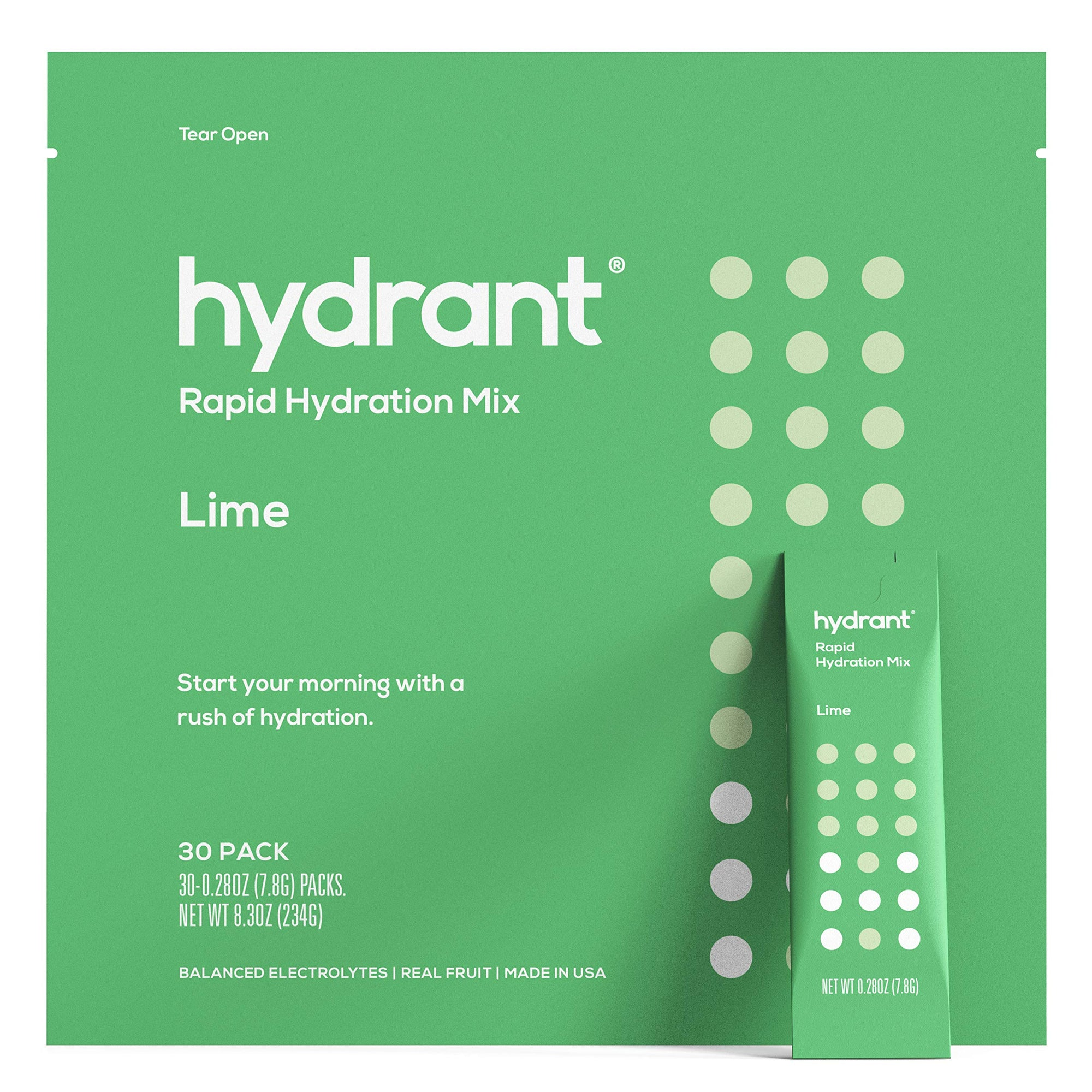 Hydrant Lime Rapid Hydration Mix Version 2 | Electrolyte Powder | Dehydration Recovery Drink - 30pk