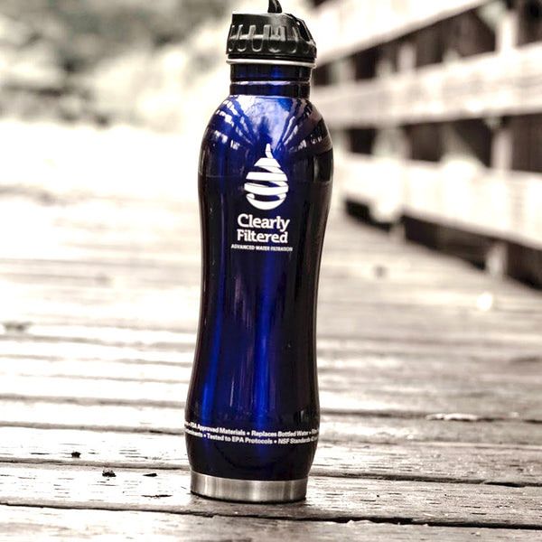 Clearly Filtered Stainless Steel Filtered Water Bottle