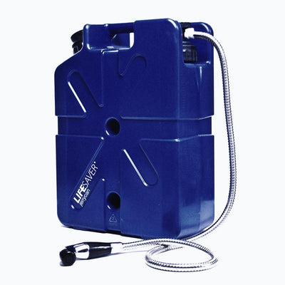 Lifesaver Jerrycan 20000UF Displayed with Optional Shower Attachment