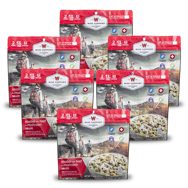 Wise Company - Outdoor Noodles with Beef in Mushroom Sauce 6-Pack (2 Serving Pouch)-main view
