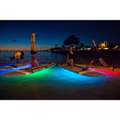NOCQUA Pro Series Spectrum – Color LED Lighting System for Kayaks & SUP's - Nighttime Yoga View