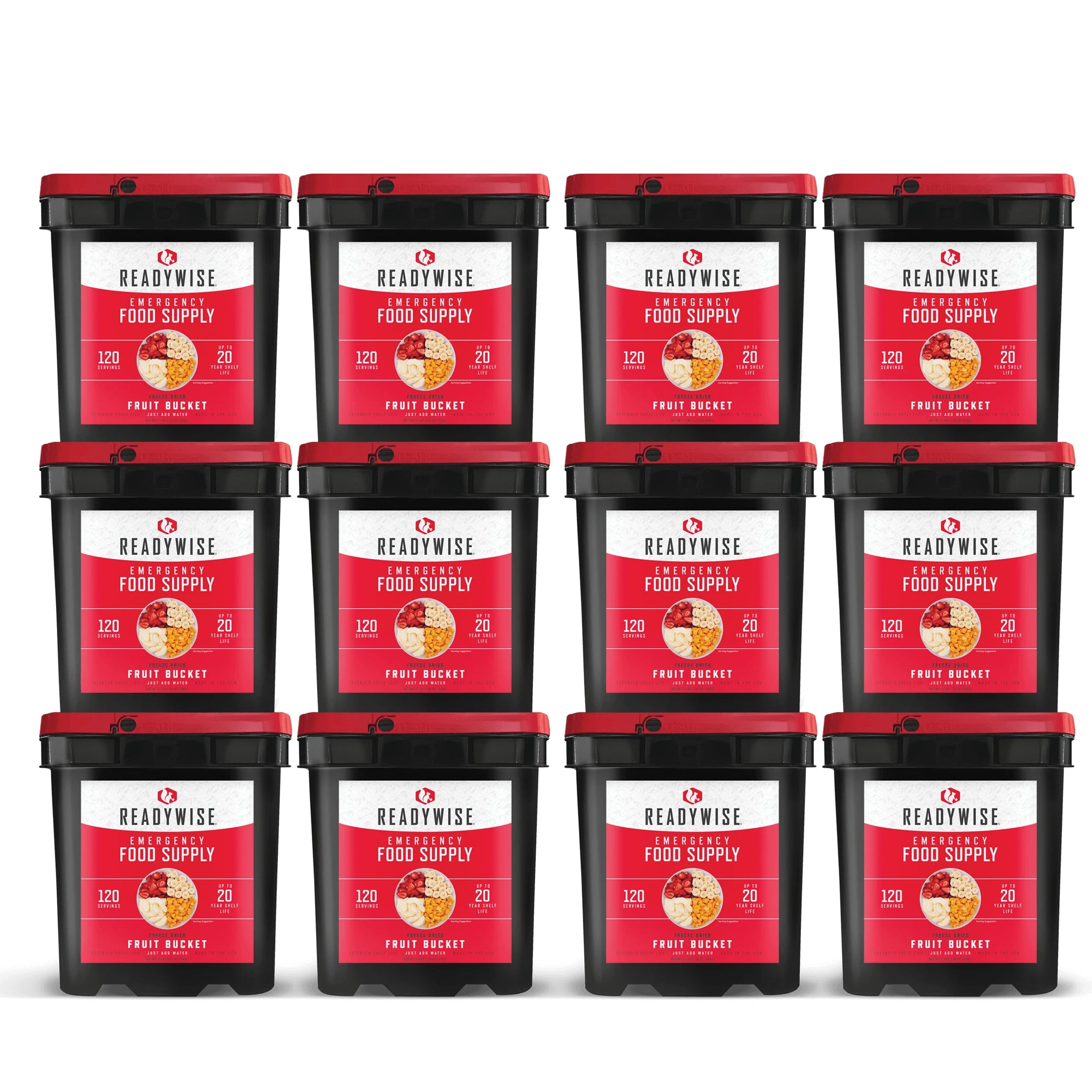 ReadyWise Emergency Freeze Dried Fruit - 1440 Servings - 12 Buckets