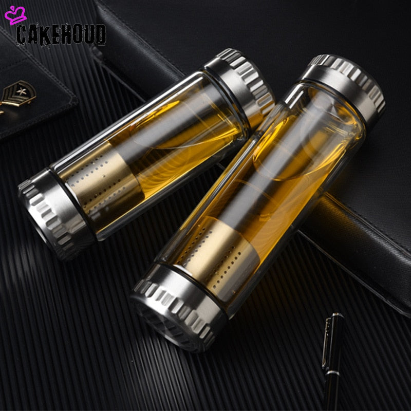 Double-Wall Glass Water Bottle with Stainless Steel Tea Infuser Filter